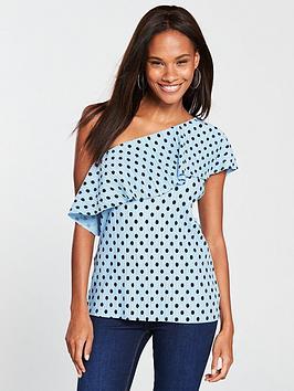 v-by-very-spot-plisse-one-shoulder-top-blue