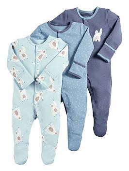 f4a36a3ed Mamas   Papas Baby Boys 3 Pack Yeti Sleepsuits