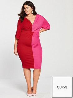 v-by-very-curve-kimono-sleeeve-knot-front-bodycon-dress-pinkrednbsp