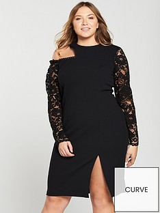 v-by-very-curve-lace-sleeve-cut-out-bodycon-dress-black