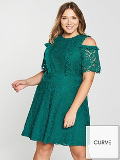 v-by-very-curve-lace-cold-shoulder-skater-dress-jade