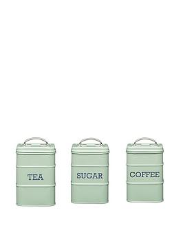 Living Nostalgia Tea Coffee And Sugar Storage Tins In English Sage Green Littlewoodsireland Ie