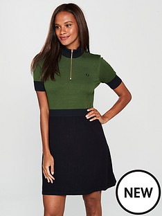 fred-perry-zip-detail-knitted-dress