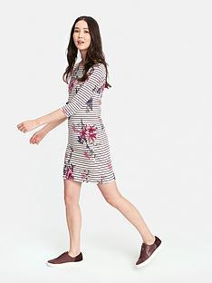 0b2de5b37e4 Joules Riviera Print Boarder Dress - Harvest Floral Plum Stripe
