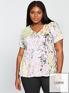v-by-very-curve-sequin-longline-top-multi