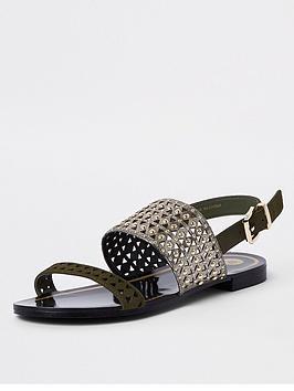 river-island-river-island-metallic-cut-out-flat-sandal-khaki