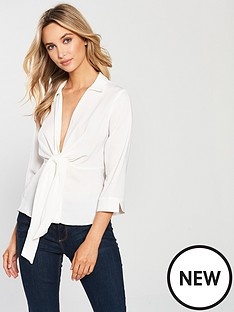 miss-selfridge-tie-waist-shirt-ivory