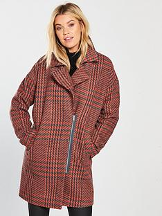 v-by-very-check-asymmetric-zip-coat-orange