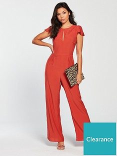 58a6a7b5327 Miss Selfridge Frill Cape Culotte Jumpsuit - Red