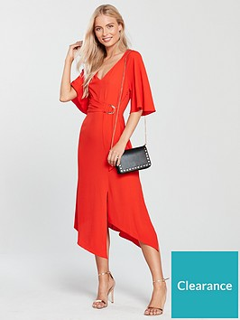 27b390db8da Miss Selfridge D-Ring Angel Sleeve Midi Dress - Red ...