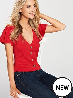miss-selfridge-button-through-v-neck-jersey-top-red