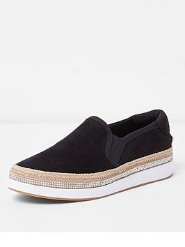Buy Cheap Latest Collections River On Island River Fit Black Slip  Plimsolls Island Wide Choice Cheap Price Cheap Reliable Discount Ebay i6b8iCXa