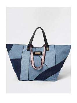 river-island-river-island-patchwork-denim-oversized-beach-bag