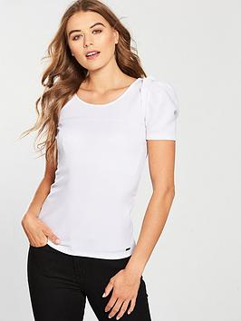 Top Sleeve With Frill Jersey Exchange  Maglia White Armani Discounts For Sale KULm9t