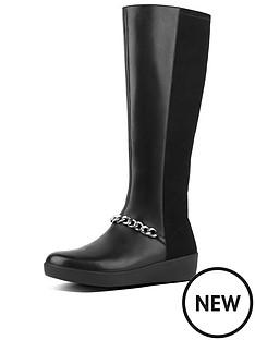 f2c35e6f892e49 FitFlop Fifi Chain Knee Boot - Black