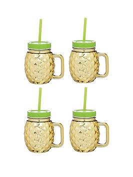 kitchencraft-barcraft-set-of-4-glass-pineapple-drinks