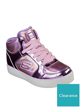 113c0936b9be Skechers Girls S-Lights Energy Lights  Lil Dazzle  High Top Trainers -  watch them light up!