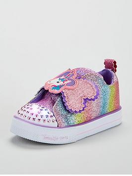 skechers-skechers-twinkle-toes-glitter-unicorn-strap-plimsoll