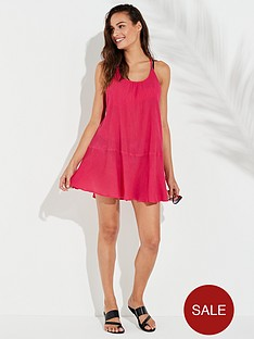 v-by-very-plaited-back-beach-mini-dress-pinknbsp