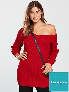 v-by-very-v-neck-slouch-longline-jumper-red