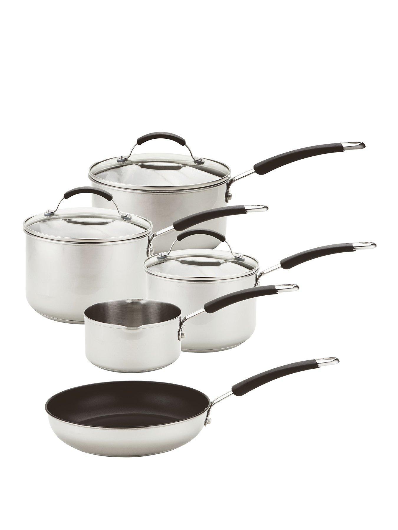 8 Pcs Induction Hob Stainless Steel Saucepan Casserole Pot Dining Cookware Set