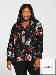 v-by-very-curve-longlinenbspbutton-front-blouse-printednbsp