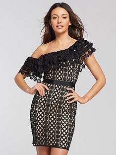 4cf20ce22a1 Michelle Keegan One Shoulder Lace Mini Dress - Black Nude