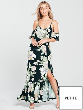 b85454536e9 V by Very Petite Cold Shoulder Jersey Maxi Dress - Floral Print ...