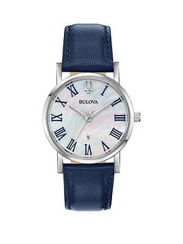 bulova-bulova-american-clipper-mother-of-pearl-dial-blue-calf-leather-strap-ladies-watch