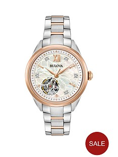 bulova-bulova-classic-mother-of-pearl-and-diamond-rose-gold-skeleton-dial-with-two-tone-stainless-steel-bracelet-ladies-watch