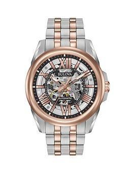bulova-classic-rose-gold-and-grey-skeleton-dial-two-tone-stainless-steel-bracelet-mens-watch