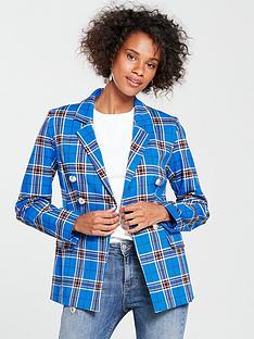 v-by-very-check-double-breasted-blazer-blue