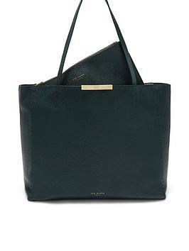ted-baker-caullie-bow-detail-soft-shopper--nbspdark-green
