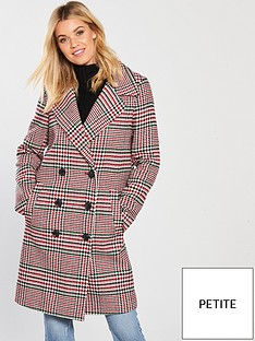 v-by-very-petite-check-double-breasted-coat-printednbsp