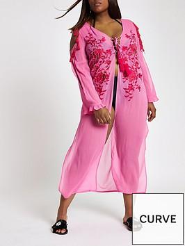 ri-plus-lace-up-detail-maxi-beach-dress-pink