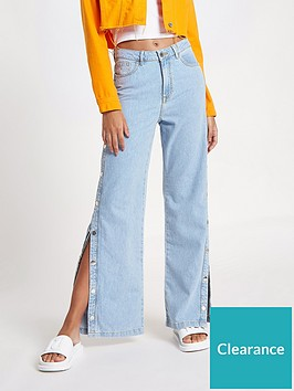 river-island-river-island-popper-side-stripe-wide-leg-jeans