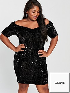 v-by-very-curve-sequin-bardot-bodycon-dress-black