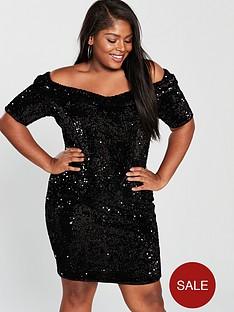 v-by-very-curve-sequin-bardot-bodycon-dress-black