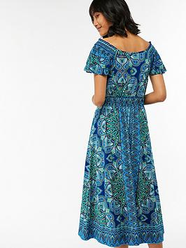 Monsoon Alaya Blue Print Dress Midi Factory Outlet Online Pay With Paypal Cheapest With Mastercard Cheap Price YecNWdyGgU