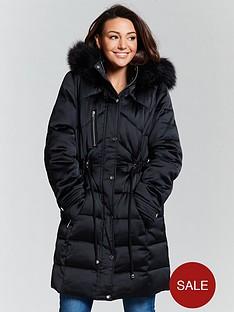 9740df22fd Michelle Keegan Premium Padded Long Line Coat - Black