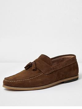 river-island-tan-tadley-suede-loafer