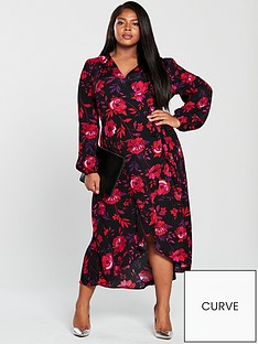 1bbe77874be5f V by Very Curve Printed Wrap Midi Dress - Floral