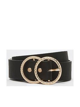 river-island-river-island-double-ring-textured-belt--black