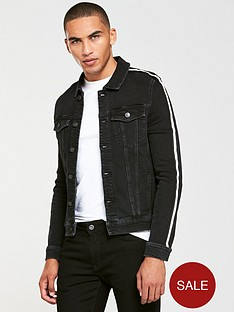 river-island-black-taped-muscle-fit-denim-jacket