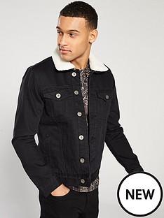 river-island-borg-lined-denim-jacket-black