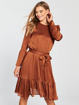 v-by-very-tie-front-dress-rust