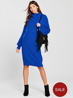 v-by-very-blouson-sleeve-roll-neck-knitted-jumper-dress-cobalt-blue