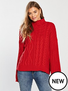v-by-very-wide-sleeve-cable-jumper-rednbsp