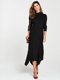 025fc0254a0 V by Very Skinny Rib High Neck Knitted Midi Dress - Black