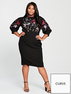 v-by-very-curve-embroidered-bodycon-midi-dress-black